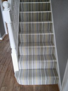 Striped Carpet On Straight Staircase Drapers Carpets